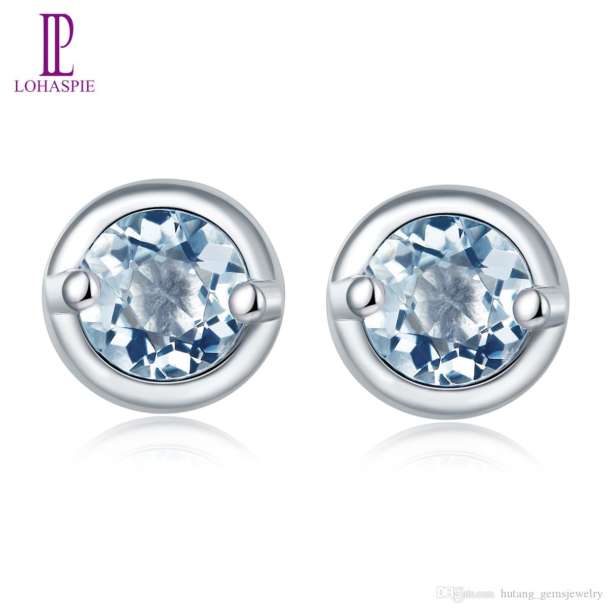 Natural Gemstone 4mm Round Aquamarine Stud Earrings for Women Solid 925 Sterling Silver Fine Fashion Jewelry Hot Sale Elegant Gift Wholesale