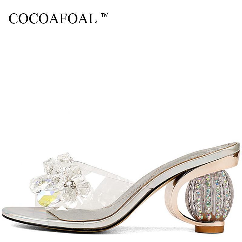 Pantoufles Cocoafoal Femmes Transparent Diapositures Été Argent Crochets Sandbach Chaussures Open teen cristal creux