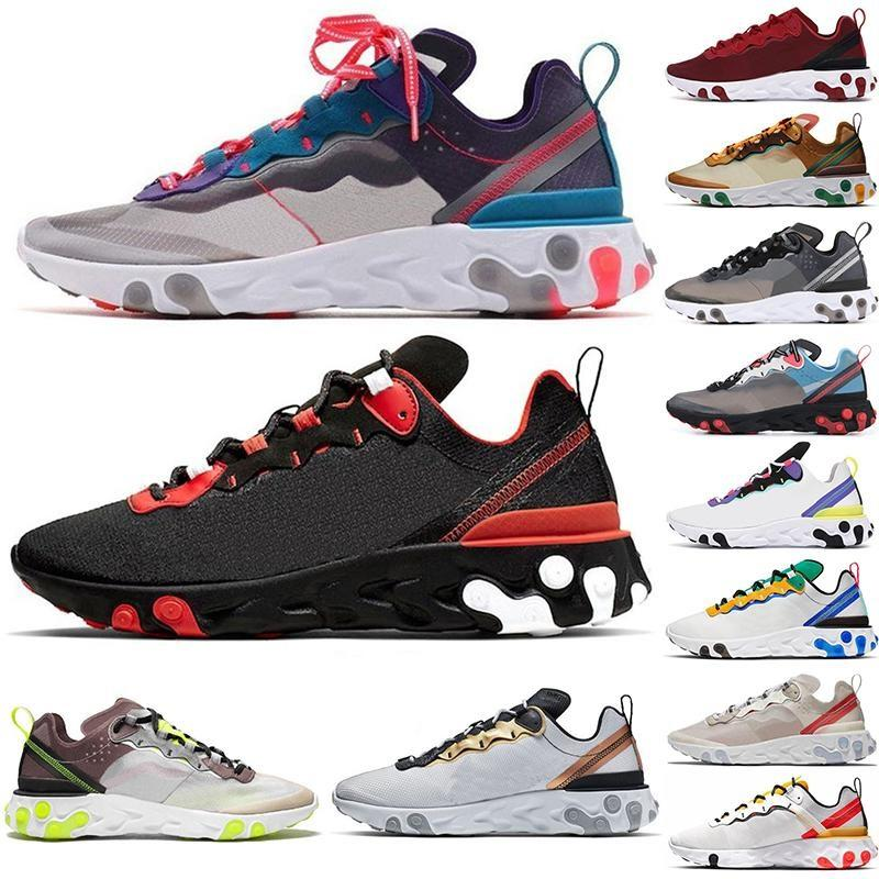 2021 React Element 55 UNDERCOVER 87 Running Shoes Team Red Orbit Bred Tour Green Epic Runner Sports Sneakers Runner Trainers 90 Vapourmax