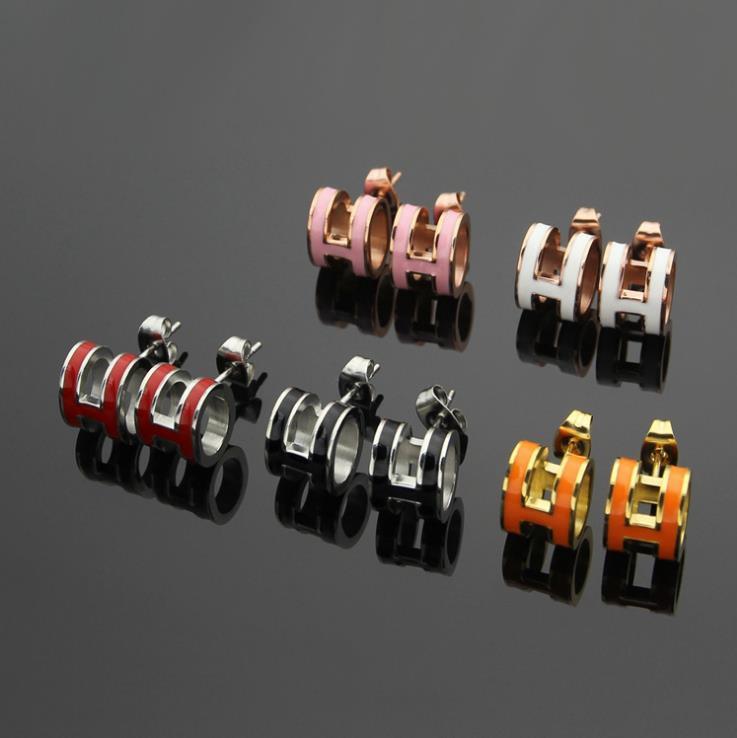H 타원형 검은 색과 흰색, 빨강 오렌지 핑크 블루 오일 드롭 귀걸이 H 문자 귀걸이 18K 골드