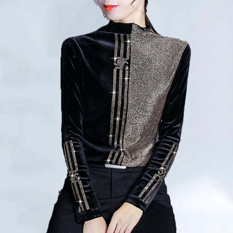 Hiver Femme T-shirt lumineux soie Brochage Plus Size T-shirt Les femmes plus velours demi-col haut talonnage Shirt Femmes Mode