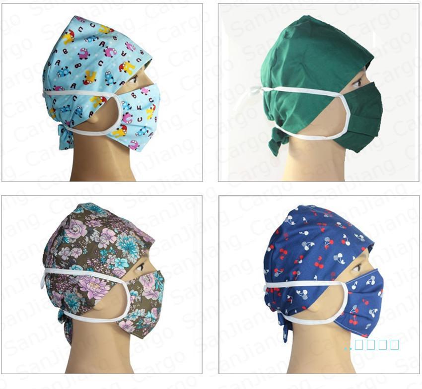 Çiçek Karikatür hemşire kap doktor şapka ve yüz maskesi Iki parçalı Set yıkanabilir koruyucu Pamuk maskeleri Hemşirelik Şapkalar Anti toz Kapakları E41403