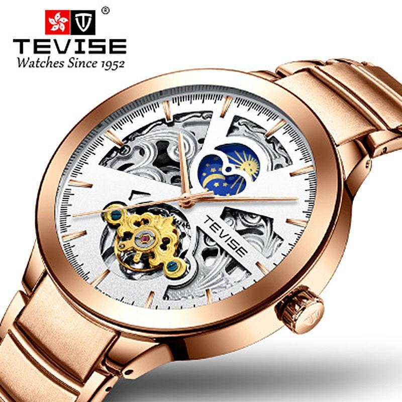Tevise أعلى ماركة فاخرة الرجال ووتش التلقائي الساعات الميكانيكية للرجال النفس متعرج tourbillon ذكر ساعة اليد relogio masculino