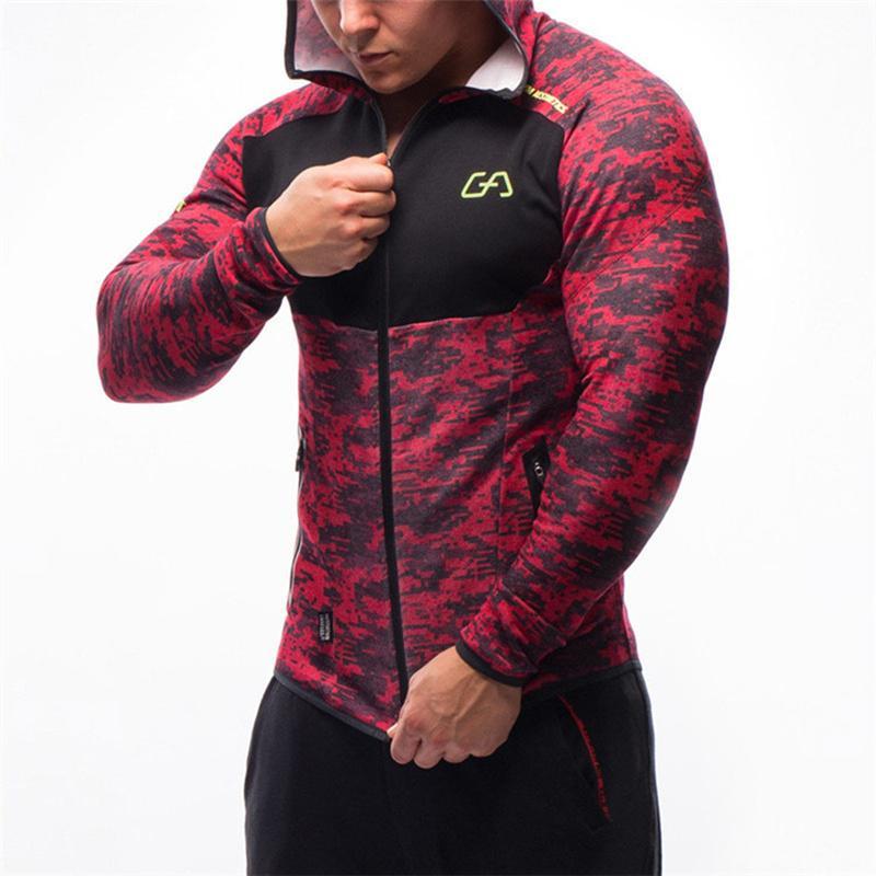 Kamuflaj vücut geliştirici Erkekler spor Hoodie Spor Salonları egzersiz Kapşonlu fermuar ceket erkek Koşucular Spor Marka giyim T200102 sweatshirt'ü