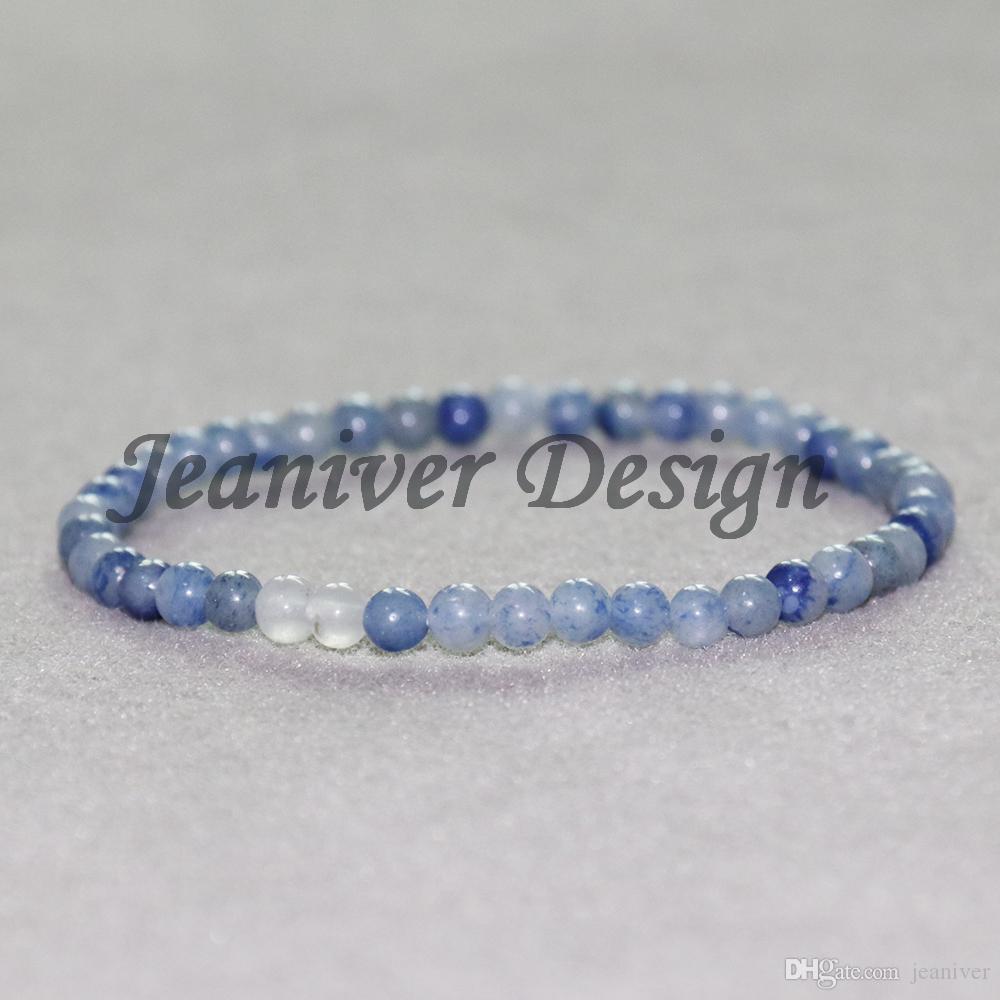 Jeaniver 2019 Bracelet Aventurine Bleu 4 mm Bracelet Cadeau Haute Qualité Bracelet Mini Gem Energy Bracelet