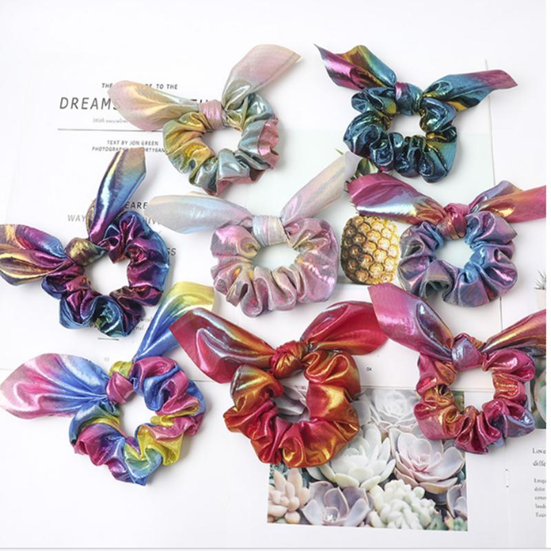 10PEICE Women Girl multi-colors rainbow Hair Ponytail Holder bands Scrunchies