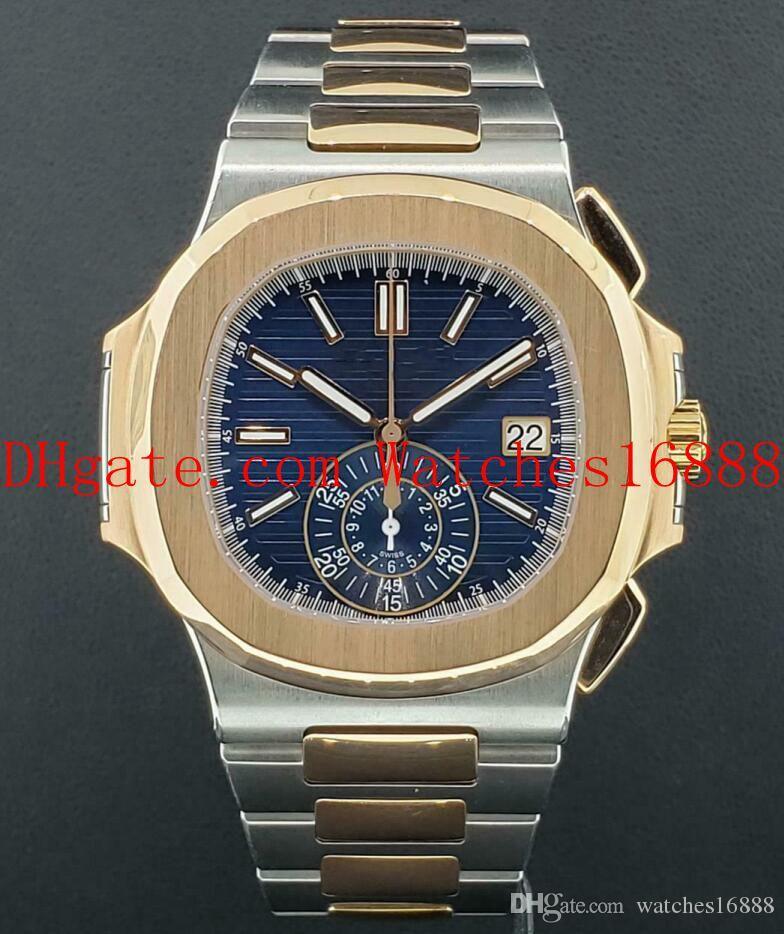 Reloj de la alta calidad del envío Mens mecánico automático Nautilus Ref 5980 / 1AR-001 de acero 18k de oro rosa con esfera azul relojes deportivos para hombre