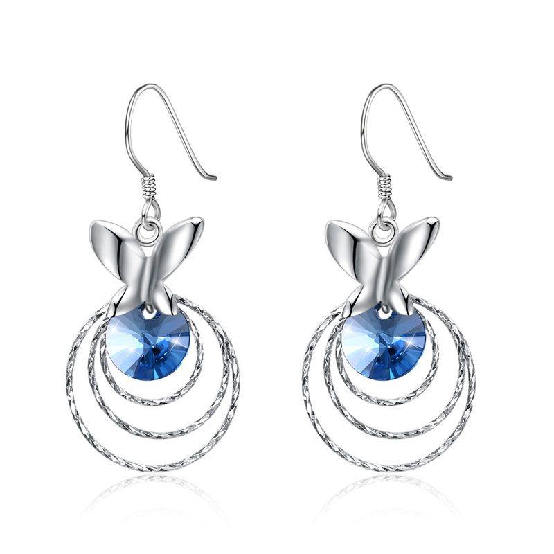 Fashion-Blue Crystal Dangel Earrings S925 Sterling Silver Female Drop Earrings for Party Butterfly Three Rings Elegant Earrings Stud