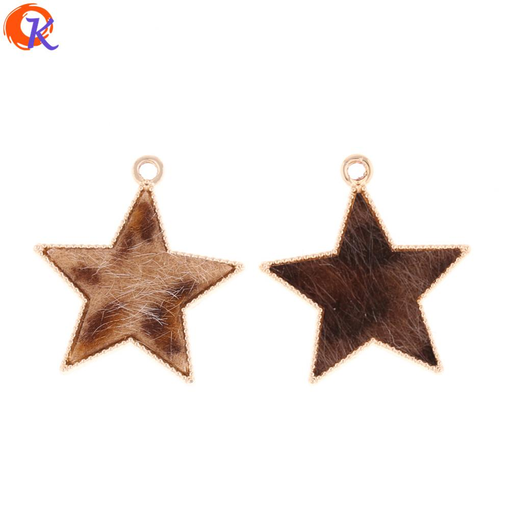 wholesale 50Pcs 27*25MM Jewelry Accessories/Earring Connectors/Star Shape/Leopard Print/Hand Made/Earring Findings