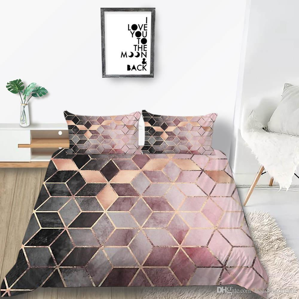 Luxury Bedding Set Diamond Pattern Black And Pink Duvet Cover For Girl King Queen Single Twin Full Double Bed Cover with Pillowcase
