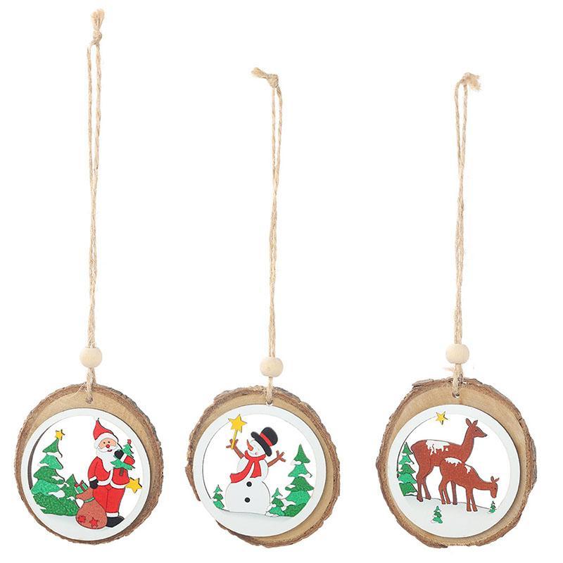Albero di Natale in legno Ornamenti pendenti Natale Capodanno Babbo Natale Pupazzo di neve Pendenti con renne per la decorazione della festa a casa Accessorio