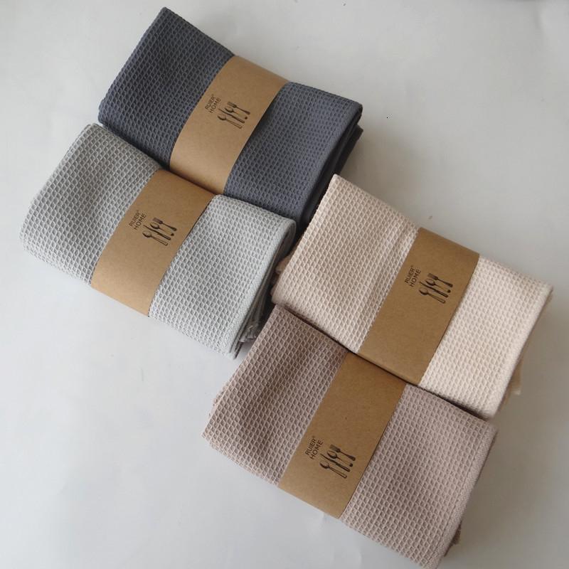 5PCS Table Napkin waffle Cotton embroidery Dishtowel Kitchen Towel Cleaning Cloth Tea Towel Ultra Large linen napkins cotton T191105