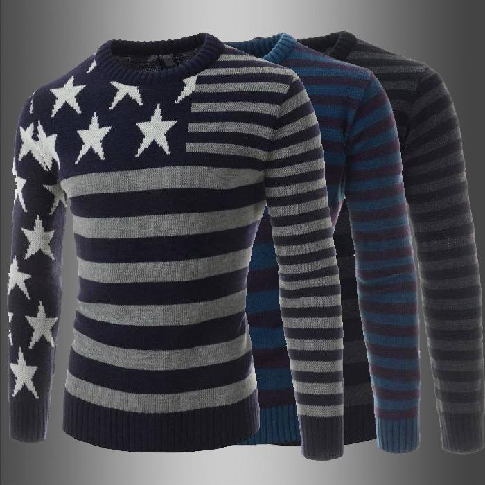20SS nouvelle marque de haute qualité marques d'hiver O-Neck Sweater Jumpers Pull à manches longues hommes Pulls Bleu M-2XL gros