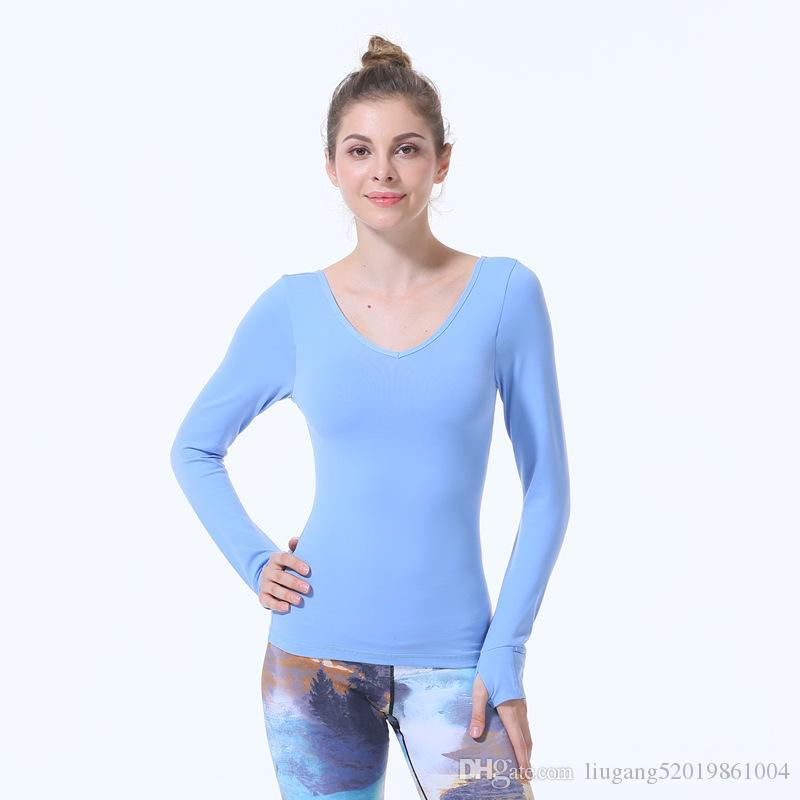 Nuevo Cielo azul LU-SZ89 de manga larga camisetas de las mujeres de la yoga de reproducción Gimnasio compresión Medias Ropa de deporte aptitud de secado rápido Tops talladora del cuerpo Tee Shirts