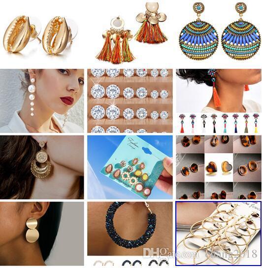 19 estilos aretes de moda para las mujeres de color dorado bola redonda pendientes geométricos para el regalo de boda del partido joyería al por mayor del oído HZSEH001