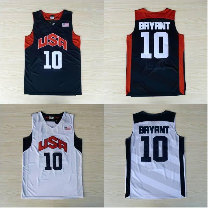 Сшитый 10 Брайант Баскетбол Джерси Mens США Dream Team Джерси прошитой синий белый короткий рукав S-XXL