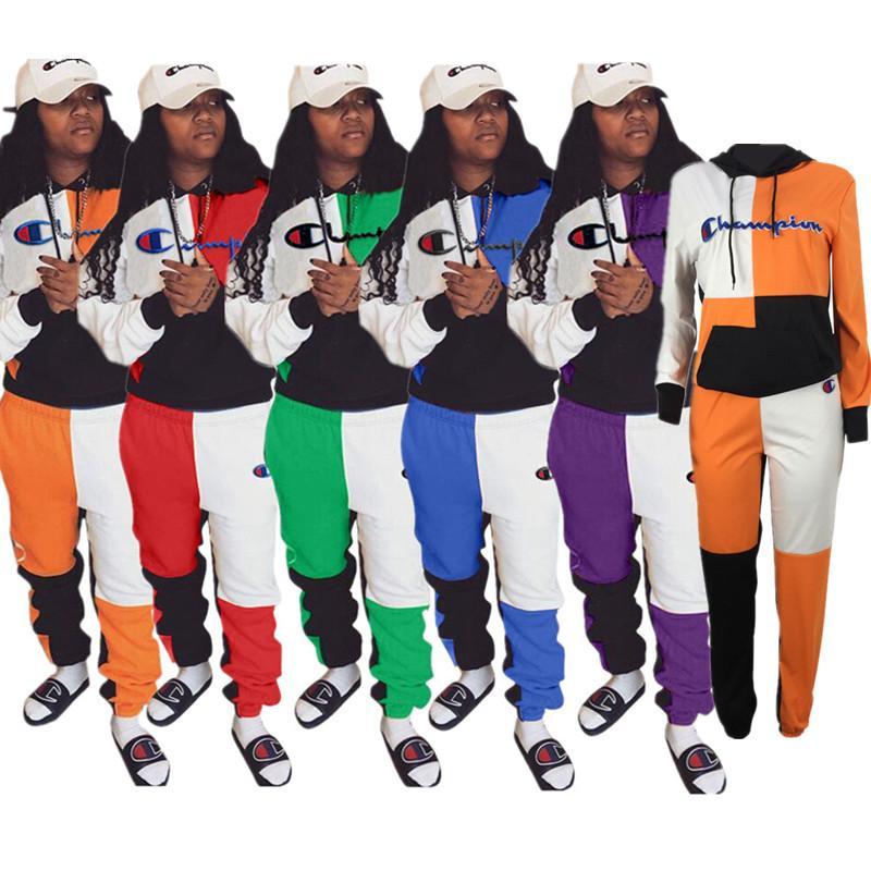 Otoño marca de las mujeres sudaderas con capucha campeón diseñador suéter + pantalones 2 piezas chándal patchwork traje de bolsillo ropa deportiva streetwear C8502