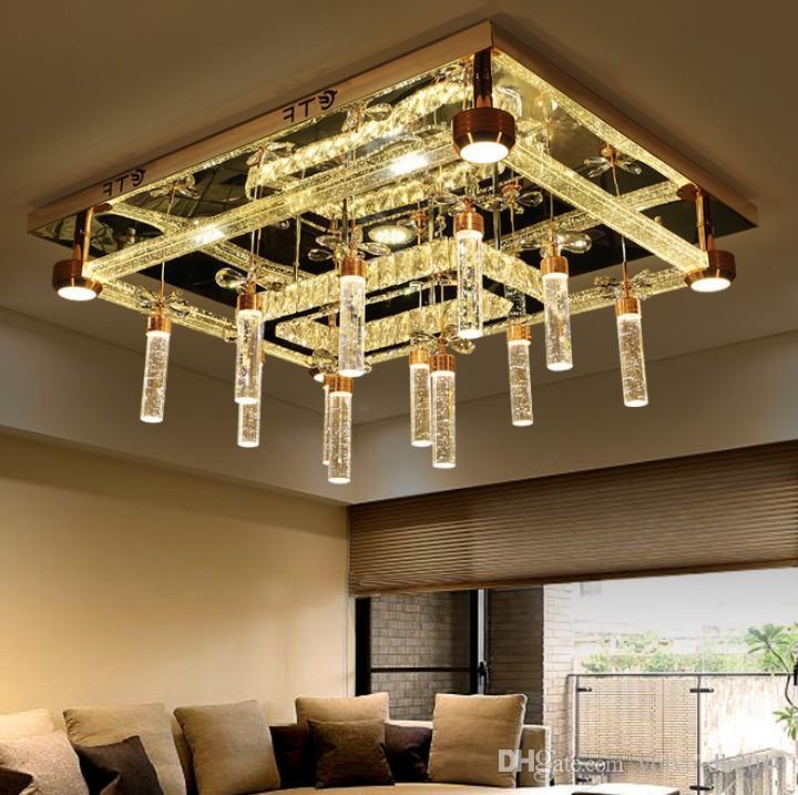Luxury Soggiorno Lampada di cristallo Rotondo Rettangolo LED Plafoniere Plafondi Personalizzazione Originalità Moderna Sala da pranzo Luci LLFA