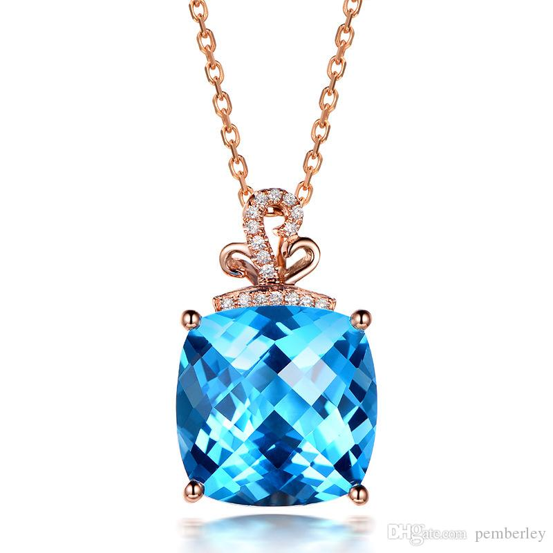 D388 set with white crystal necklace female girl square jewelry pendant wholesale love Slide Rosegold blue crystal