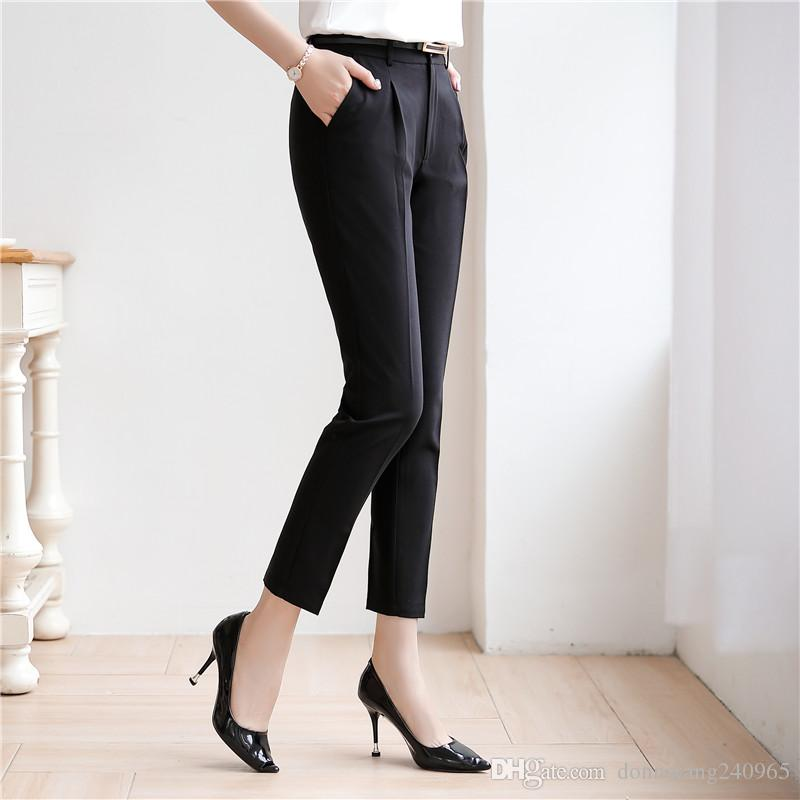 2019 New Long Pants High Waist Women's Pencil Pants Casual Solid Formal Pants Female Long Trousers for office work wear