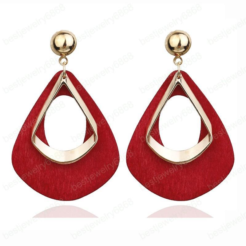 Heiße Verkaufs-Weinlese Frauen Mode-Aussage Ohrring Rot Grün Braun Schwarz Farbe Lange hölzerne Brincos Hochzeit Geschenk