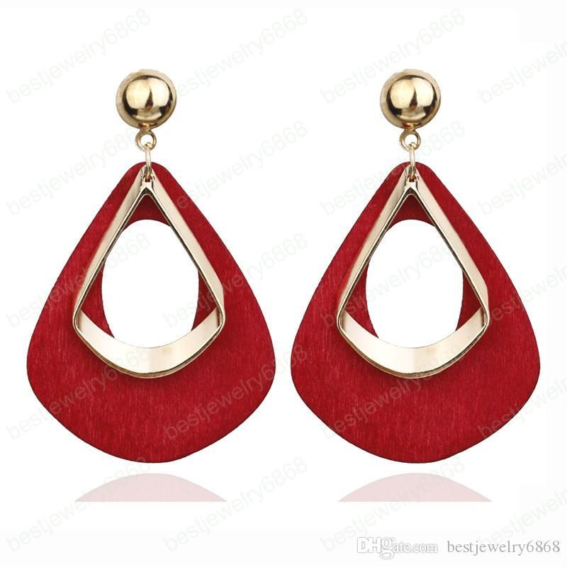 Declaración de moda de la venta caliente de las mujeres de la vendimia pendiente rojo Verde Marrón Negro Color de madera largo del banquete de boda Brincos regalo
