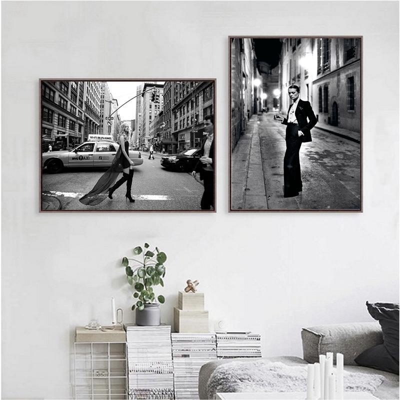 Beauté Mode Imprimer Le tabagisme affiche de photo Vogue Paris Art Toile Peinture Femme Couverture de magazine Photo Chambre à coucher décorations Art
