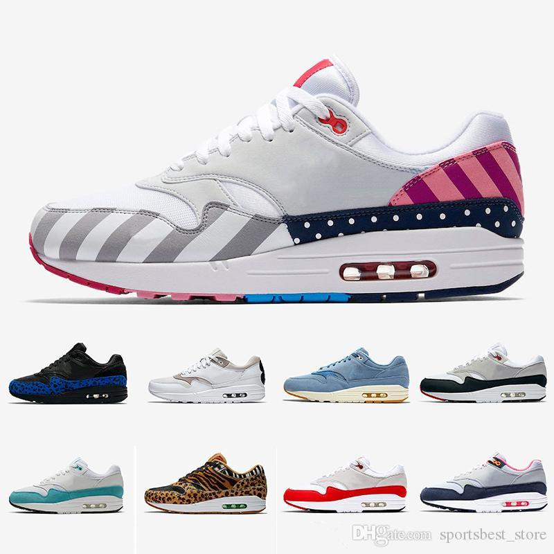 Luxury Men Women Running Shoes 1 Anniversary Royal Patch Atomic Teal Parra Puerto Rico 87s Bounce Trainers Fashion Sports Sneakers