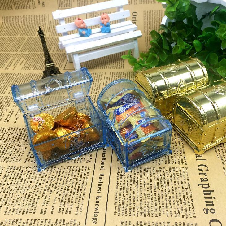 Cofre del tesoro en forma de caja del favor del regalo de boda de caramelo Cofre del tesoro cajas de chocolate Birthday Baby Shower Favors LX2014
