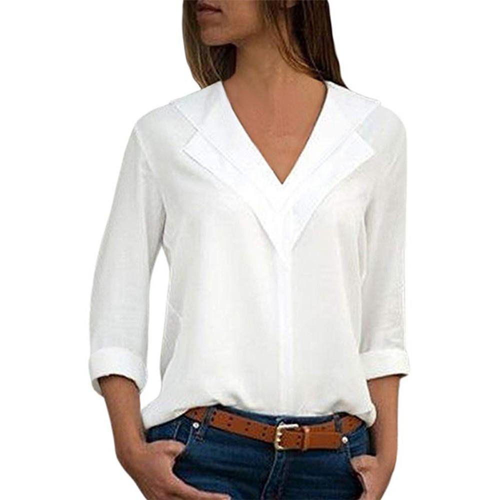 Feitong Moda Para Mujer Blusas de Gasa Sólido Señoras Oficina Señoras Llanura Rollo Blusa Camisa Tops Blusas mujer de moda 2019
