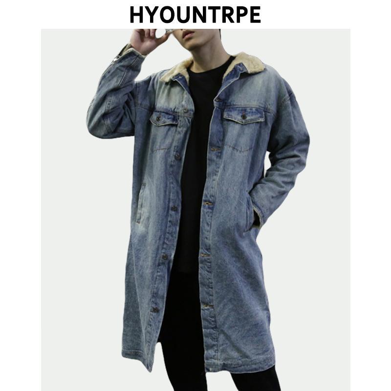 High Street Denim Jacket Lamb Wool Warm Thick Coat Zipper Long Sleeve Single Breasted Parkas Men New Winter Hip Hop Clothing