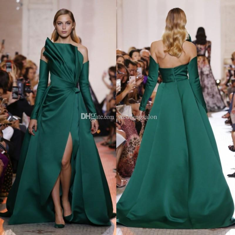 Ellie Saab Hunter Side Split Abendkleider Trägerloser Ausschnitt mit langen Ärmeln A Line Abendkleid Sweep Train Satin Formal Dress