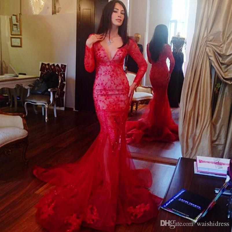 Waishidress Deep V Neck Mermaid Evening Dresses With Long Sleeves Crystal Applique Prom Dress Sweep Train Tulle Custom Made Evening Gowns