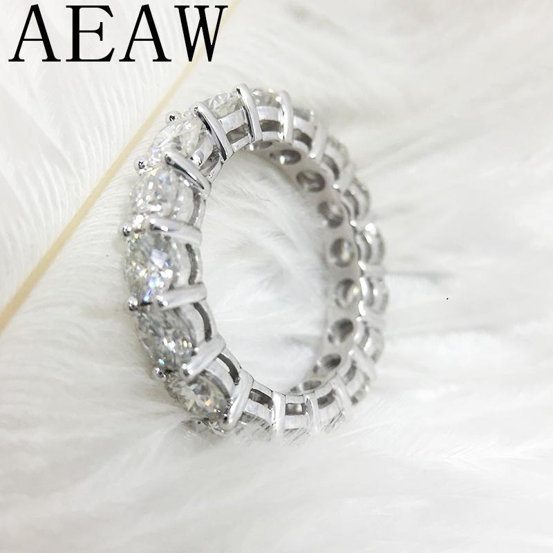 AEAW sólido Platinum 950 de 4 mm de lujo 5ctw anillo de compromiso de boda color F Moissanite completa enternity diamante banda para las mujeres S200117