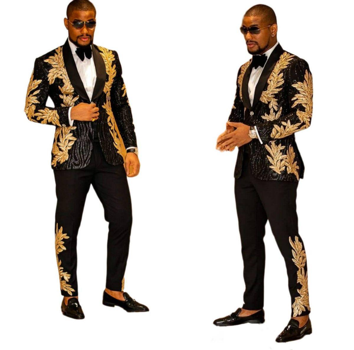 أزياء تناسب الرجال السود مع تطريز الذهب مطرز قطعتين شال طية صدر السترة الزفاف مصمم البدلات الرسمية الرجال سترة وسروال