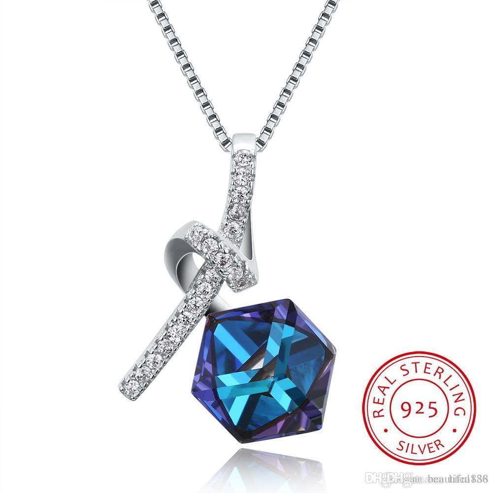 New Design Square Bead Crystals From Swarovski Element Pendants S925 Silver Chain Necklace For Women Girl Good Jewelry Gift