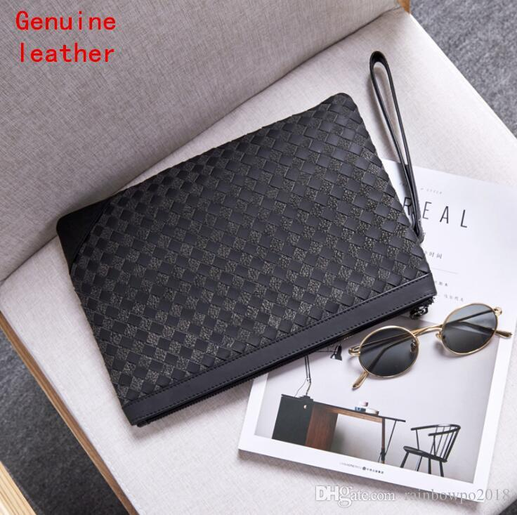 Factory wholesale men handbag hand woven leather business envelope Baotou leather men hand clutch fashion woven storage wallet
