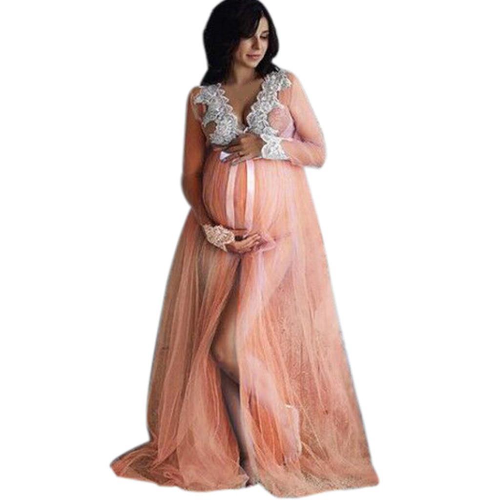 Nursing Dress Women Newborn Photography Breastfeeding Lace Maxi Dress For Feeding Maternity Pregnancy Clothes Plus Size 18dec21