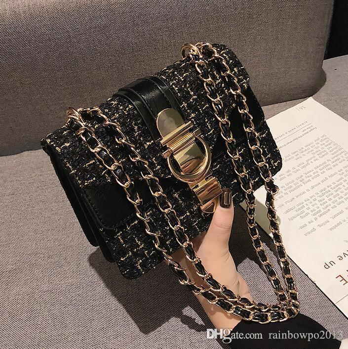 Factory wholesale women handbag winter new plaid wool bag sweet lady contrast leather chain bag personality golden lock fashion bag