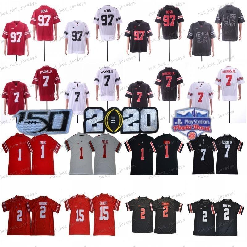 2020 Ohio State Buckeyes Jersey OSU # 1 Justin Fields # 2 Chase Young Jk Dobbins # 15 Elliott 7 Dwayne Haskins Teague Teague 150th Fiesta Bowl