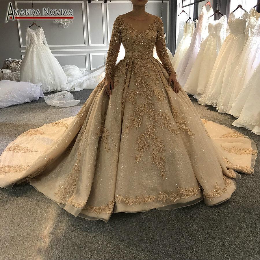 Großhandel 20 Goldenes Volles Bördelndes Hochzeitskleid Funkelndes  Luxuxlangzug Brautkleid Von Guojiangwedding, 20,20 € Auf De.Dhgate.Com   Dhgate