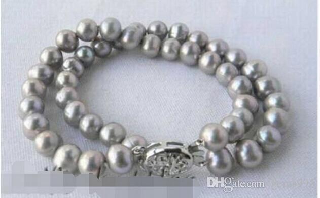 + ++ 2Strands 9 millimetri rotonda braccialetto della perla d'acqua dolce grigia FREE SHIPPING