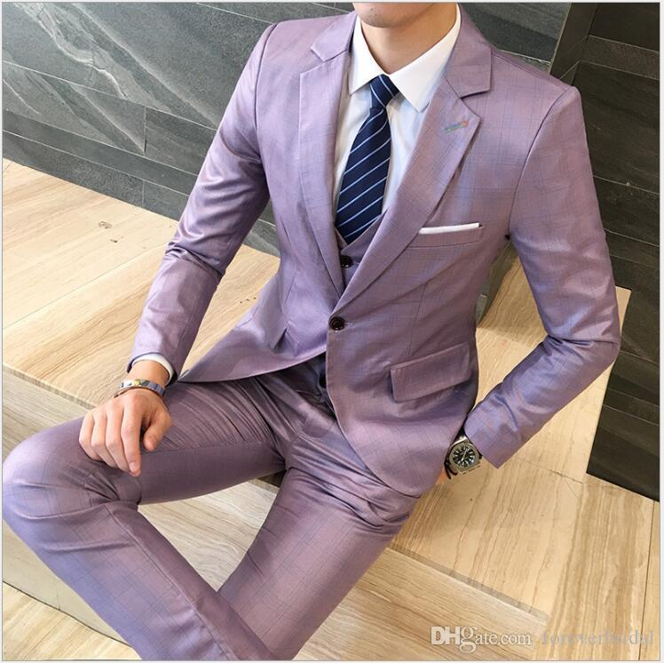 Plus Size M-5XL Brand New Designer Men Fashion Charming Suits Three Pieces (Jackets+Pants+Vests) Formal Dinner Party Suits For Young People