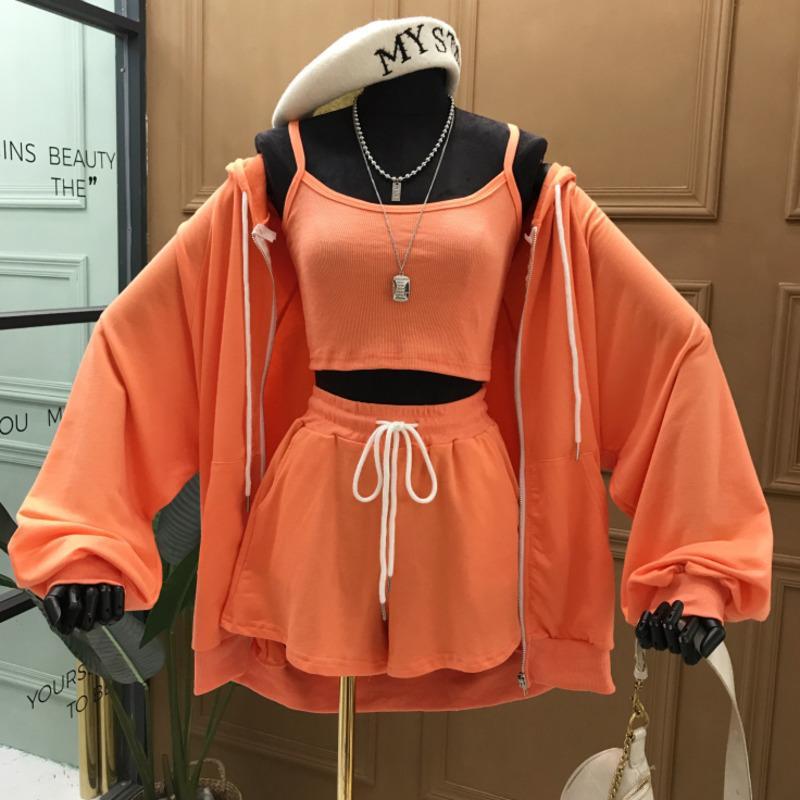 Escudo de manga larga de encaje hasta el suéter encapuchado DEAT Moda 2020 Nueva ocasional del verano de la cremallera sólido delgado Traje de tres piezas Mujeres SB782 CX200701