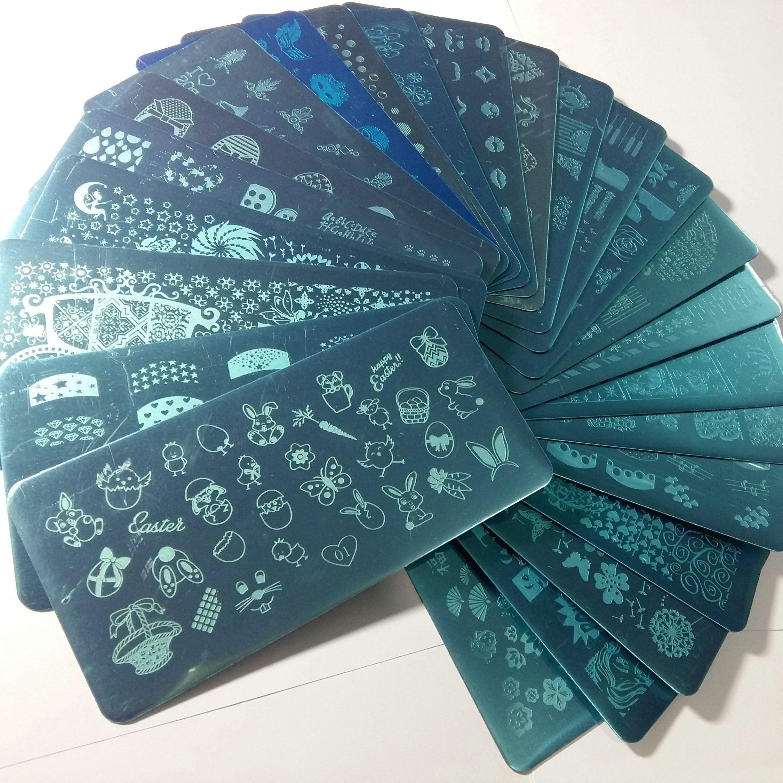 24X XL Voll Französisch Designs Nail Art XL Stamp Big Stamping Stamping Schablonen-Blumen-Fee-Kuss Liebe Anime Masken Schmetterlings-Schablone drucken