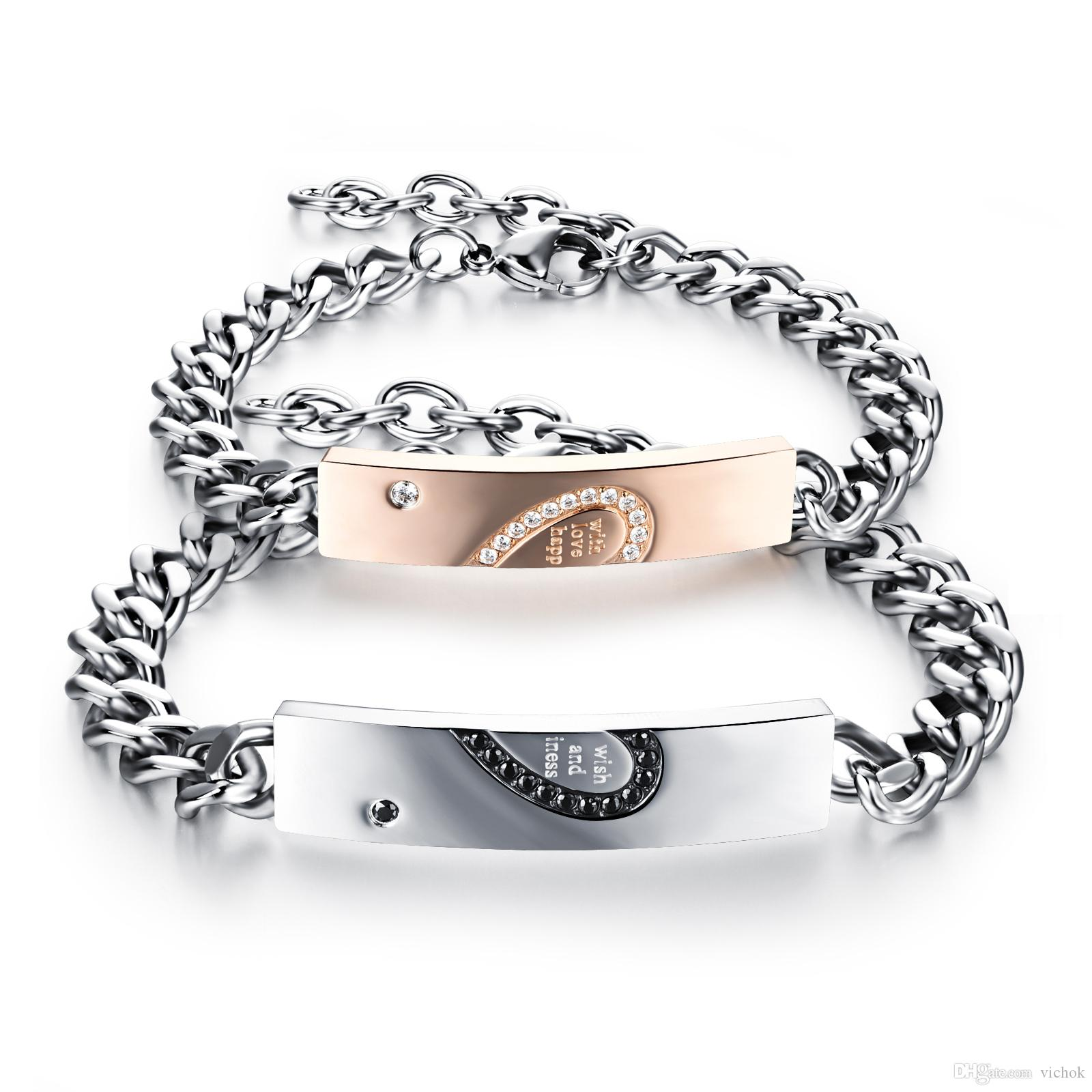 Vichok Punk Ropck 316L Stainless Steel ID tag Couple Bracelet Curb Chain Polish Men Women Jewelry for Gift