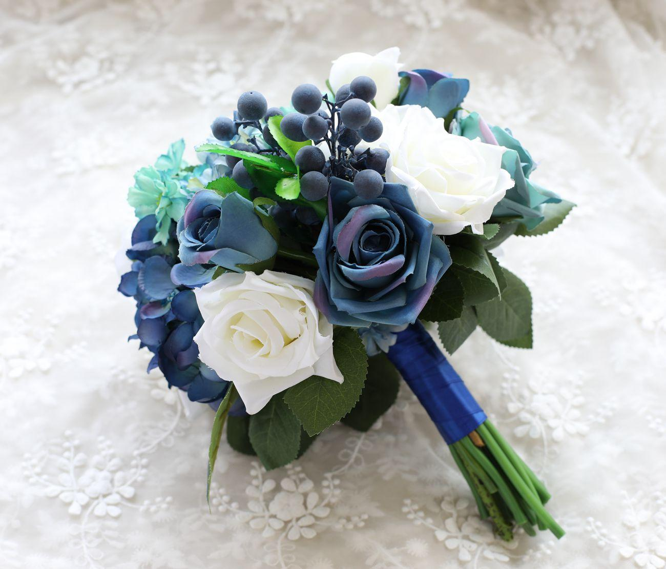 2020 Silk Flower Wedding Bouquet Blue Romantic Roses Artificial Flowers Fall Vivid Fake Leaf Bridal Bouquets Decorative Flowers Wreaths From Chinasmoke 36 85 Dhgate Com