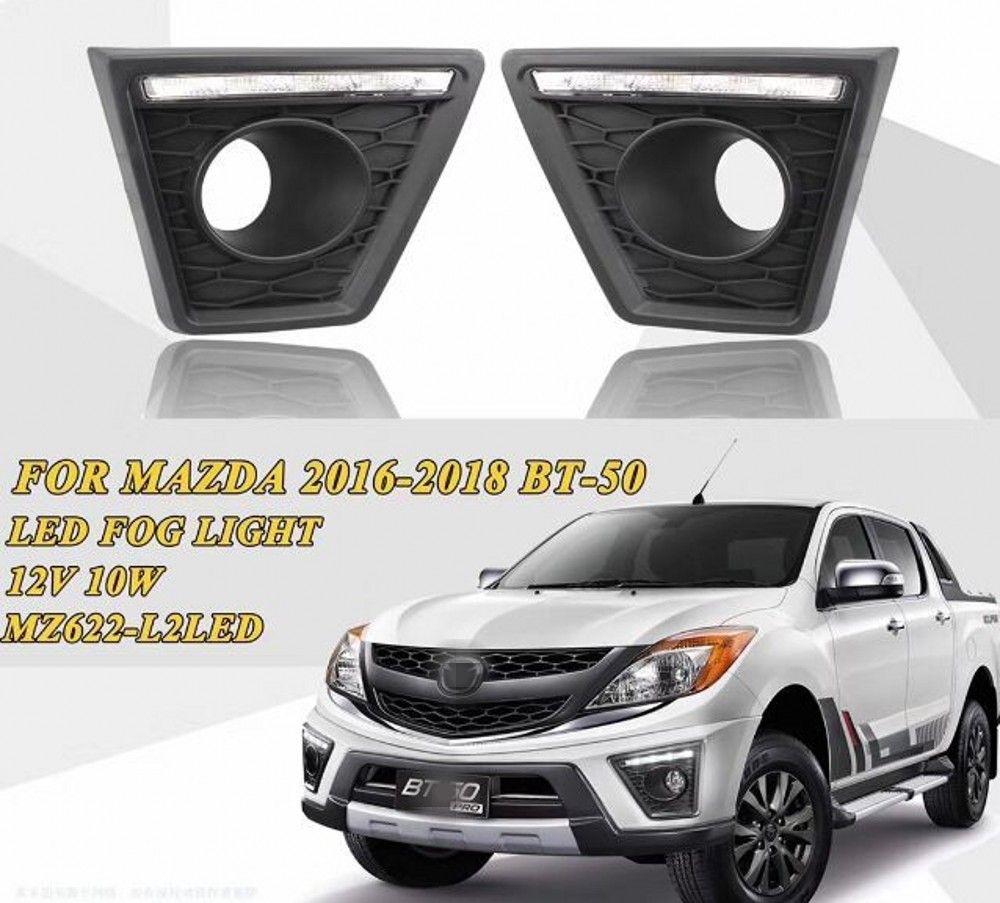 Auto-Tech 1 LED Car luzes diurnas substituição nevoeiro DRL lâmpada Para Mazda BT50 BT50 PICKUP PRO 2016-2019 (Sem luz de nevoeiro)