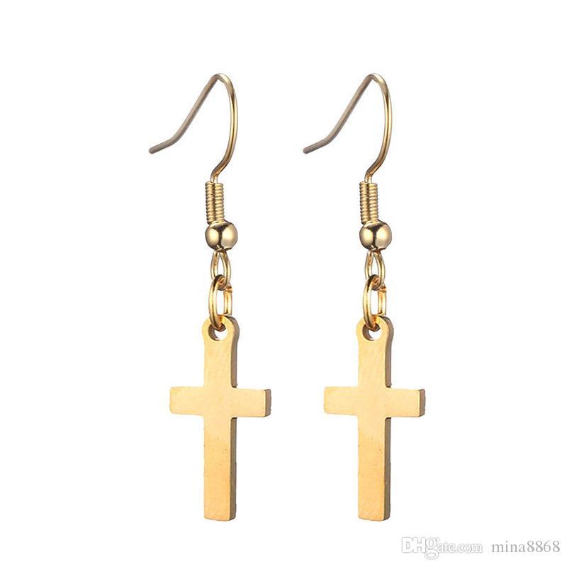 Gold Silver Color Stainless steel Cross Dangle Earrings for Women Cross Pendant Earrings Drop Earrings Fashion Jewelry Accessories