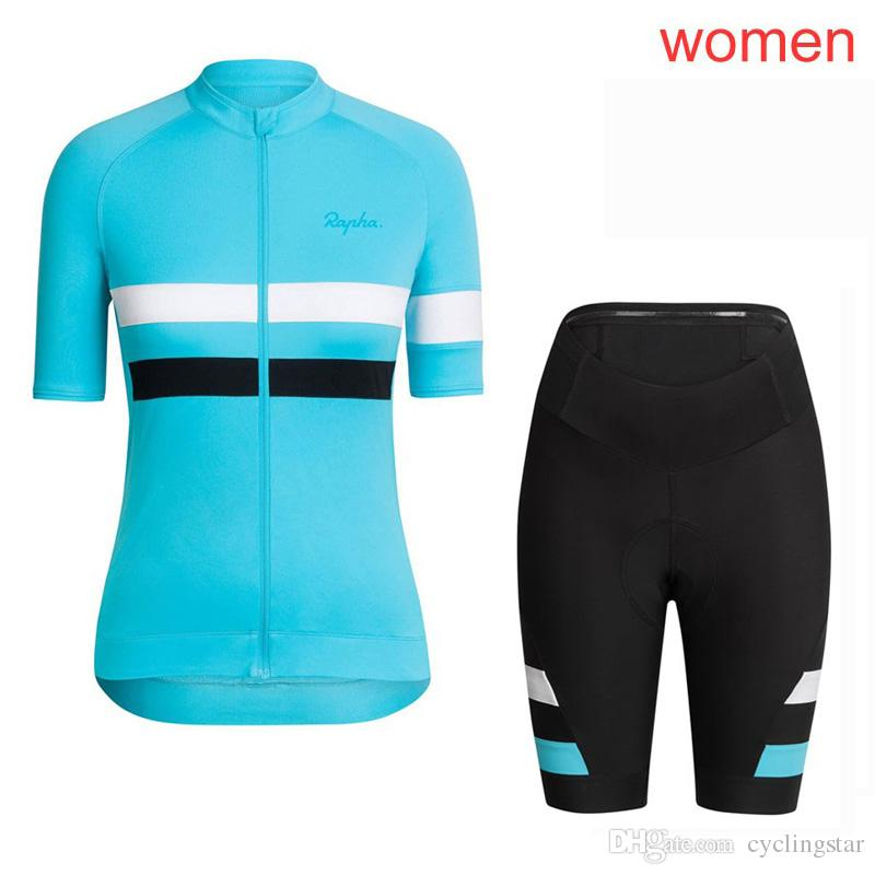 Pro team rapha cycling jersey Women set summer Outdoor sportswear MTB bicycle Wear Maillot Ciclismo Mountain bike clothing 121705Y